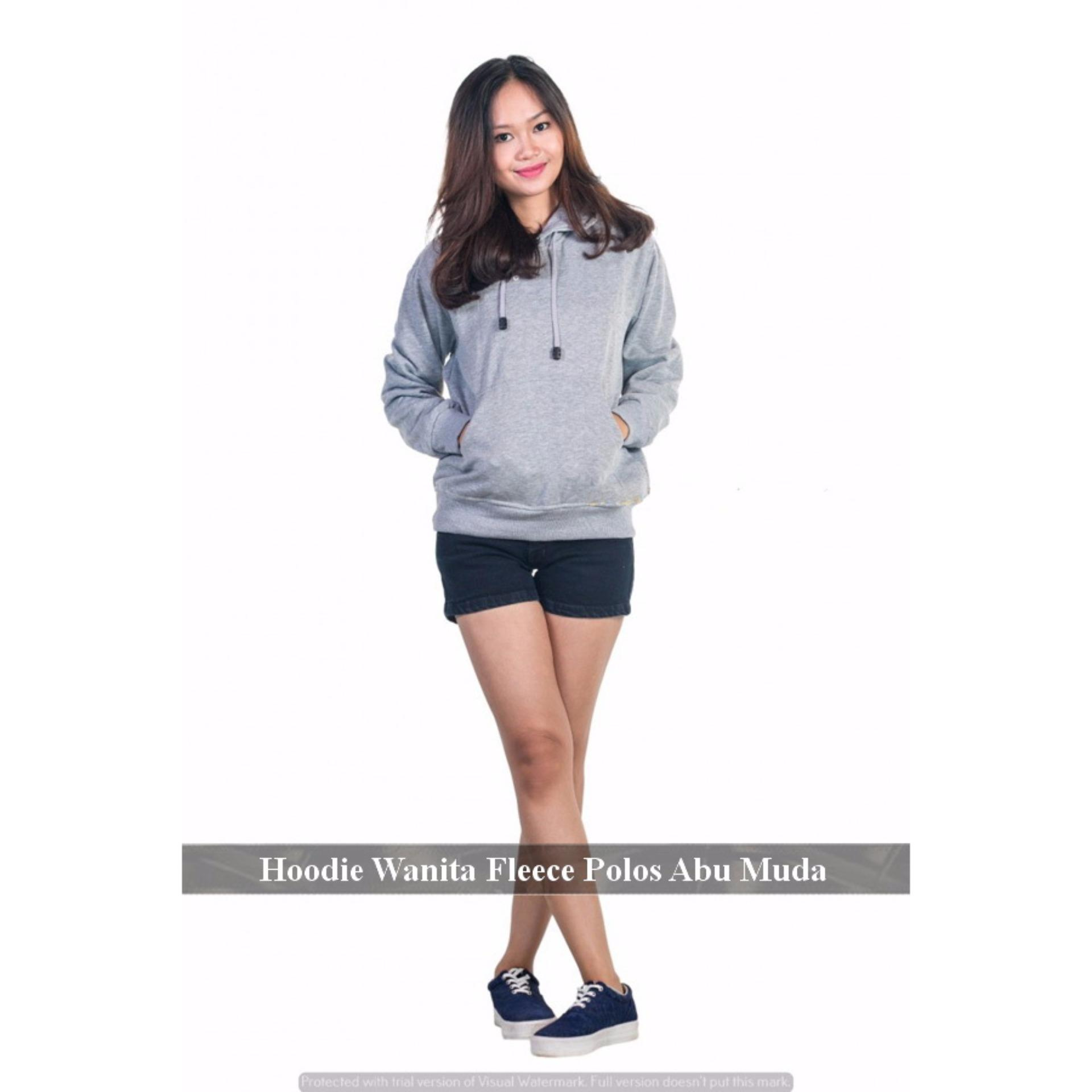 Spek Grosir Jaket Murah Sweater Hoodie Online Jumper Hoodie Wanita Polos Abu Muda Fleece