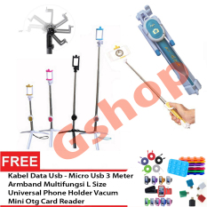 Gshop Tongsis 3 in 1 Selfie Stick Built In Bluetooth Tripod + Armband L Size + Mini OTG + Phone Holder Vacum + Kabal Data 3 Meter