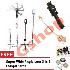 Gshop Tongsis 3 in 1 Selfie Stick Built In Bluetooth Tripod + Lampu Selfie + Lensa Super Wide - Black