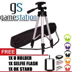 Review Gstation 3110 Portable Tripod Stand 4 Section Aluminium Legs With Brace Free Holder U Ok Stand Holder Lampu Selfie Flash Di Dki Jakarta