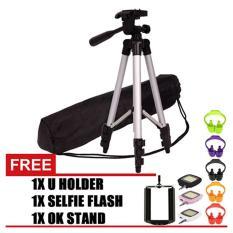 GStation 3110 Portable Tripod Stand 4 Section Aluminium Legs With Brace Free Holder U, OK Stand Holder, Lampu Selfie Flash