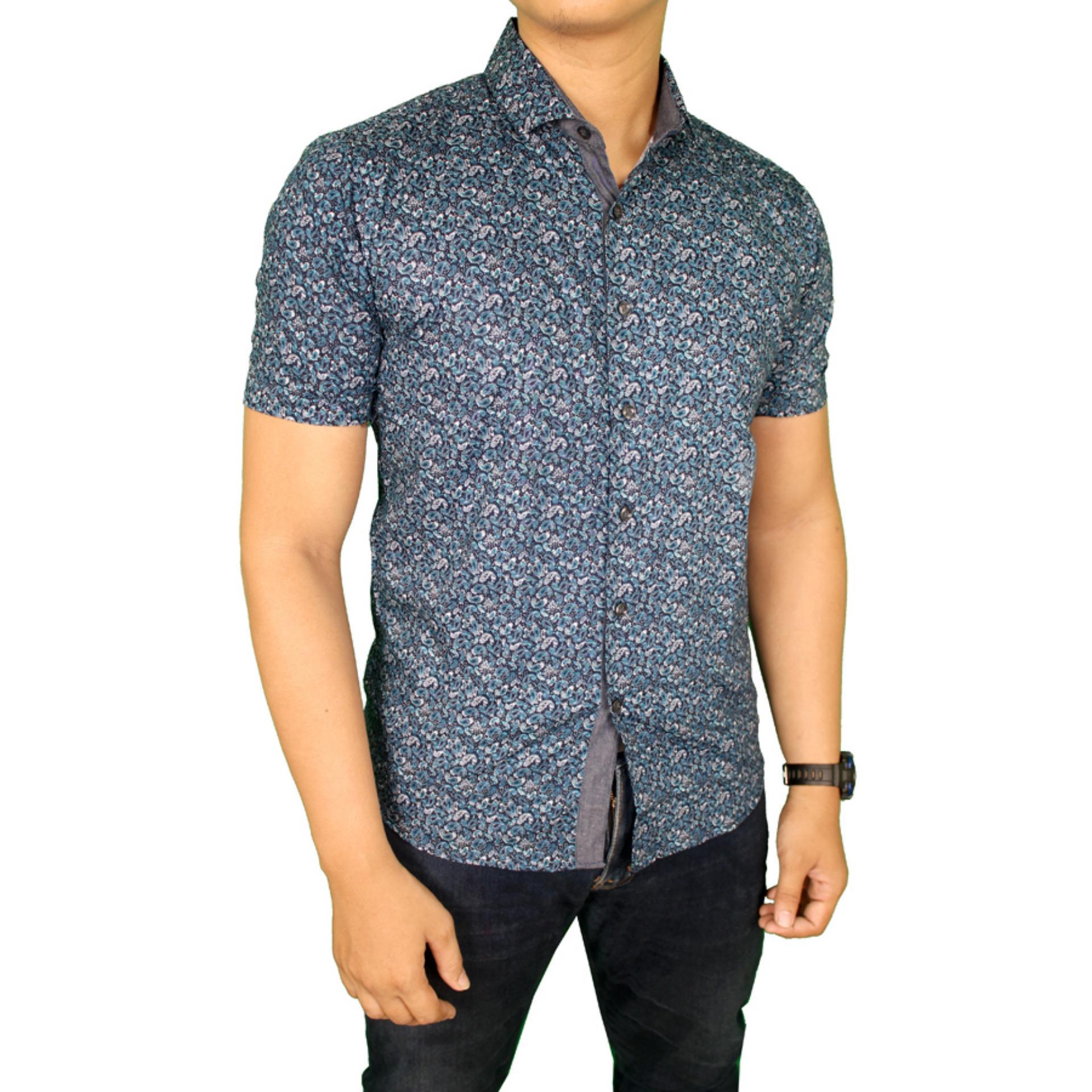 Spesifikasi Gudang Fashion Baju Batik Pria Slim Fit Biru Merk Gudang Fashion