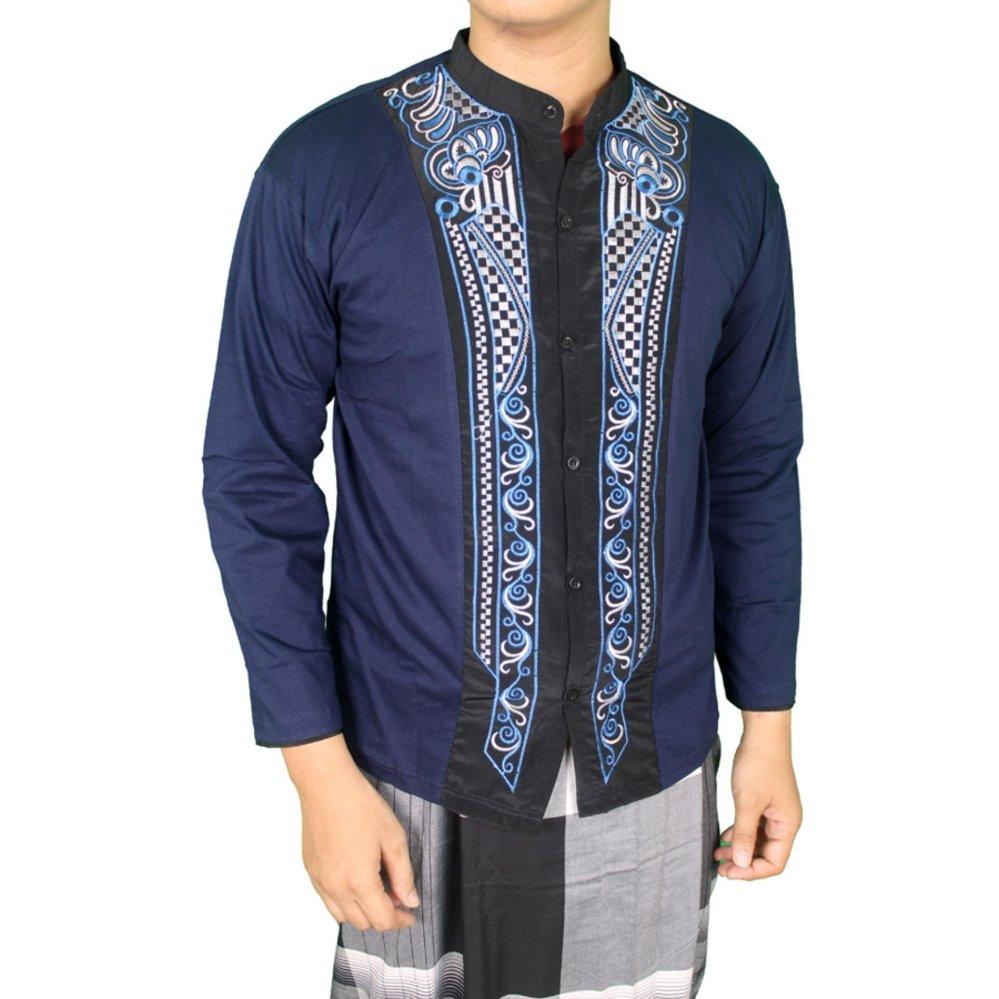 Diskon Gudang Fashion Baju Koko Kemeja Muslim Pria Biru Navy