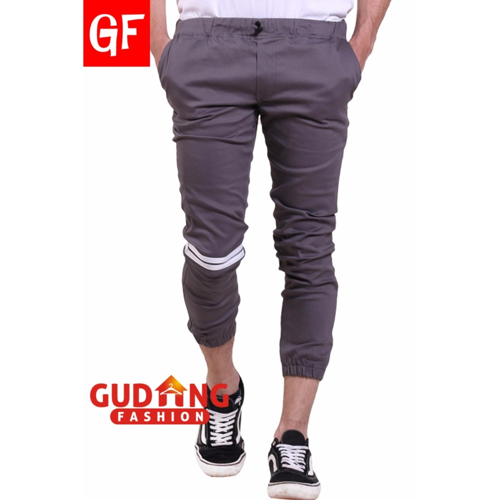 Harga Gudang Fashion Celana Jogger Pria Panjang Kasual Strip Abu Online Banten