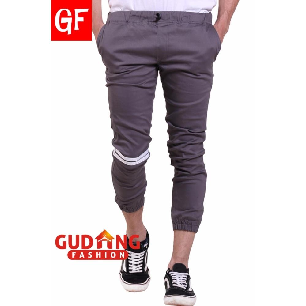 Spesifikasi Gudang Fashion Celana Jogger Pria Panjang Kasual Strip Abu