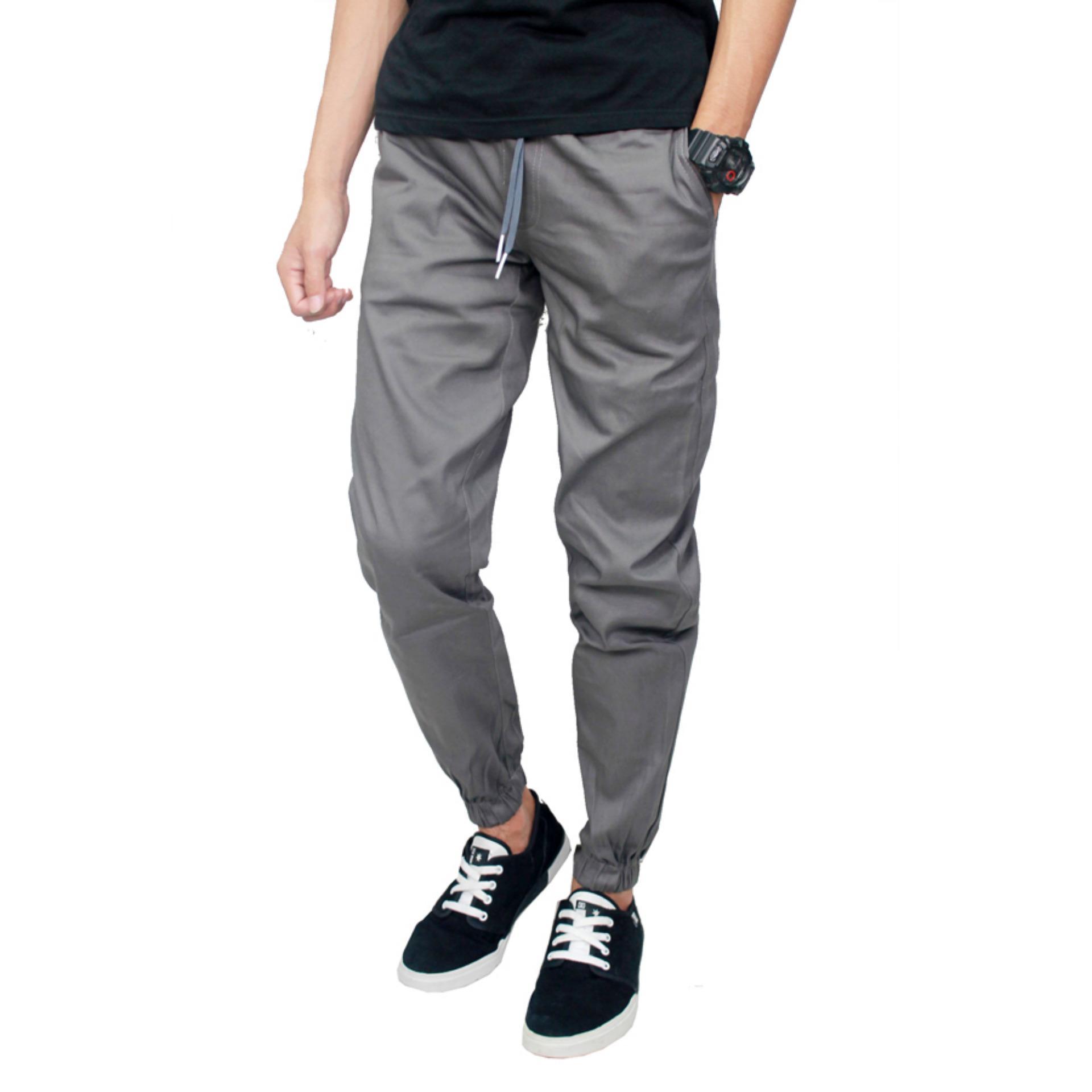 Gudang Fashion - Jogger Pants Pria Panjang - Abu