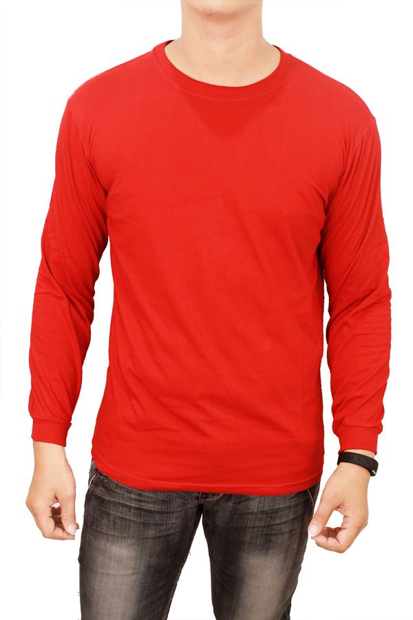 Ongkos Kirim Gudang Fashion Kaos Lengan Panjang Polos Merah Di Banten