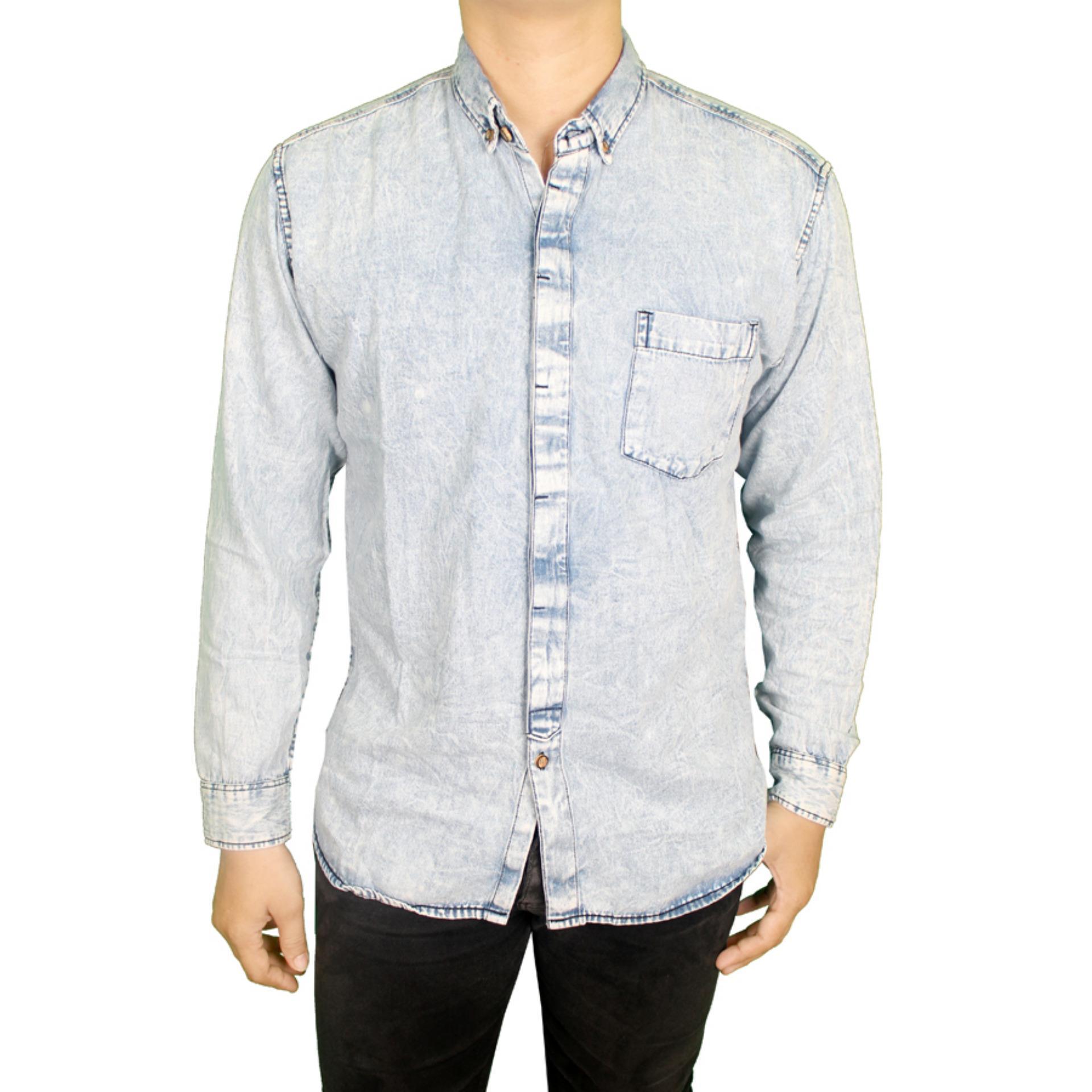 Promo Toko Gudang Fashion Kemeja Jeans Pria Terbaru Biru