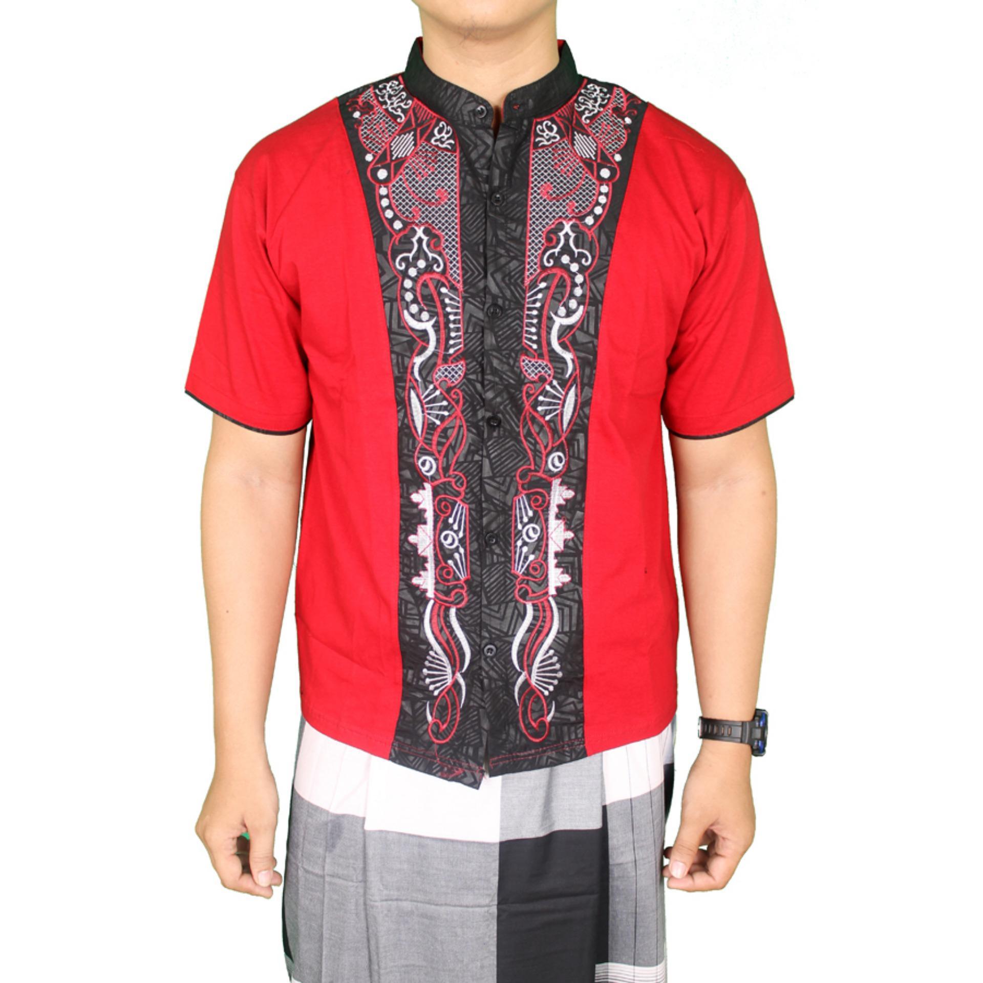 Gudang Fashion Kemeja Muslim Pria Pendek Bordir Tengah Merah