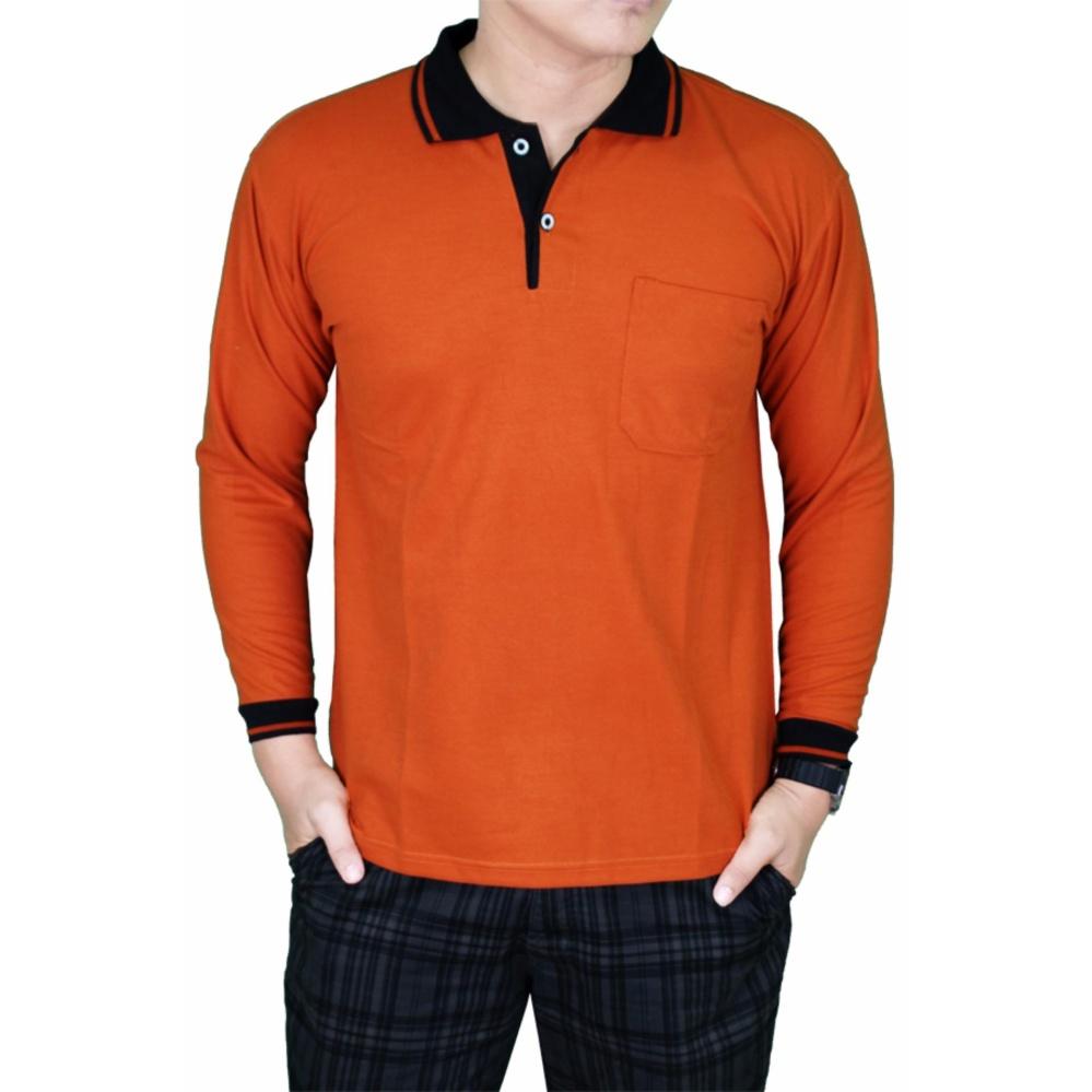 Harga Gudang Fashion Polo Shirt Pria Lengan Panjang Merah Bata Kerah Hitam Gudang Fashion Baru