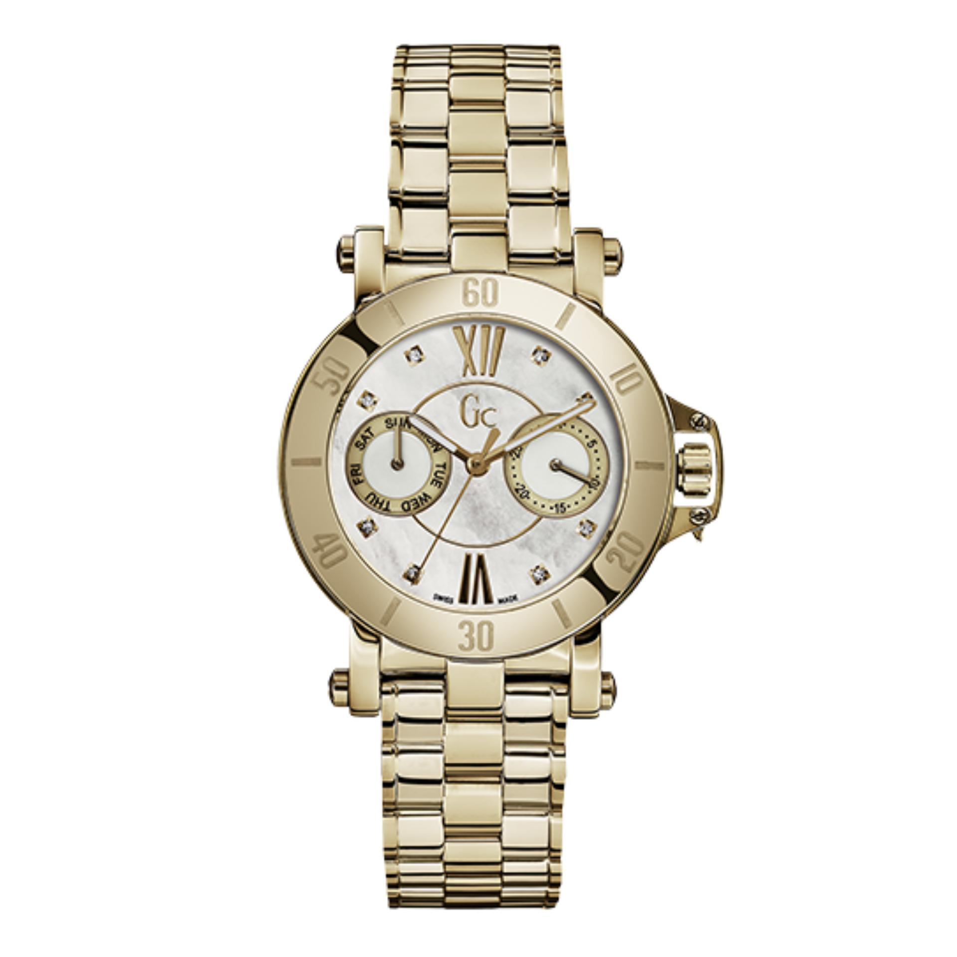 GUESS COLLECTION Gc FEMME X74111L1S - Jam Tangan Wanita - Stainless - Gold - White -