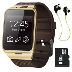Harga Gv18 Smart Bluetooth Watch With 8 Gb Kartu Memori And Headset Bluetooth Coklat Original