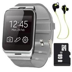 GV18 jam tangan ponsel pintar dengan 8 GB kartu memori dan Headset Bluetooth (hitam) - International