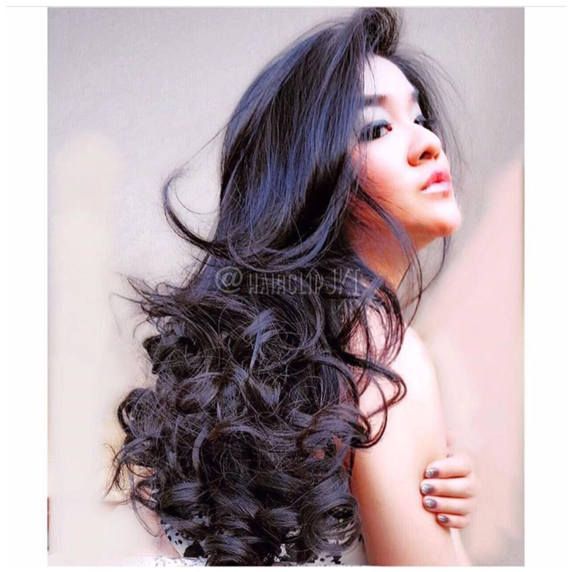 Jual Hairclip Curly 55Cm Black Premium Baru