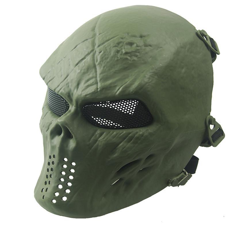Topeng Tengkorak Hitam Source · Halloween Airsoft Paintball Wajah Penuh Masker untuk Bernapas .
