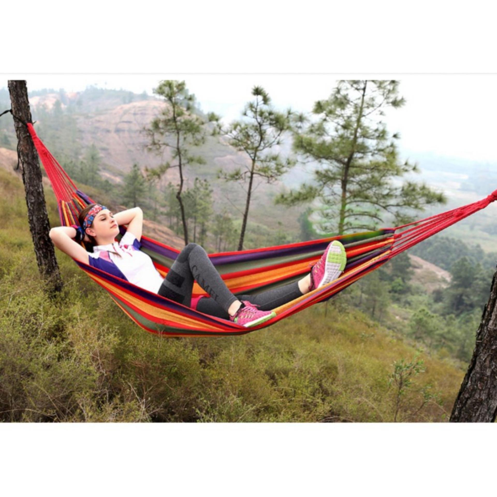 Hammock Single Folding Outdoor Tempat Tidur Gantung Pohon Tiang Ayunan