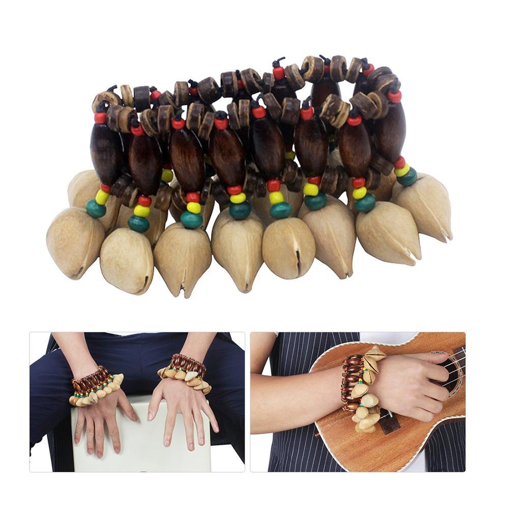 Handmade Kacang Shell Gelang Handbell untuk Djembe Drum Afrika Conga Perkusi Aksesoris-Intl
