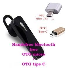 Handsfree Bluetooth+ OTG Mickro Usb+OTG Tipe C For Asus Zenfone 3 Laser (ZC 551 KL)- Hitam