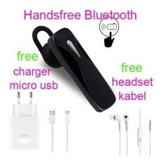 Handsfree Bluetooth Hedset Kabel+Charger Usb For Asus Zenfone 3 Max (ZC 553 KL) - Hitam