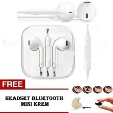 Handsfree IPhone 4 5 6 7STAR Earphone / Headset General Dengan Mic - Putih + FREE Headset Bluetooth Mini Krem 1Pcs
