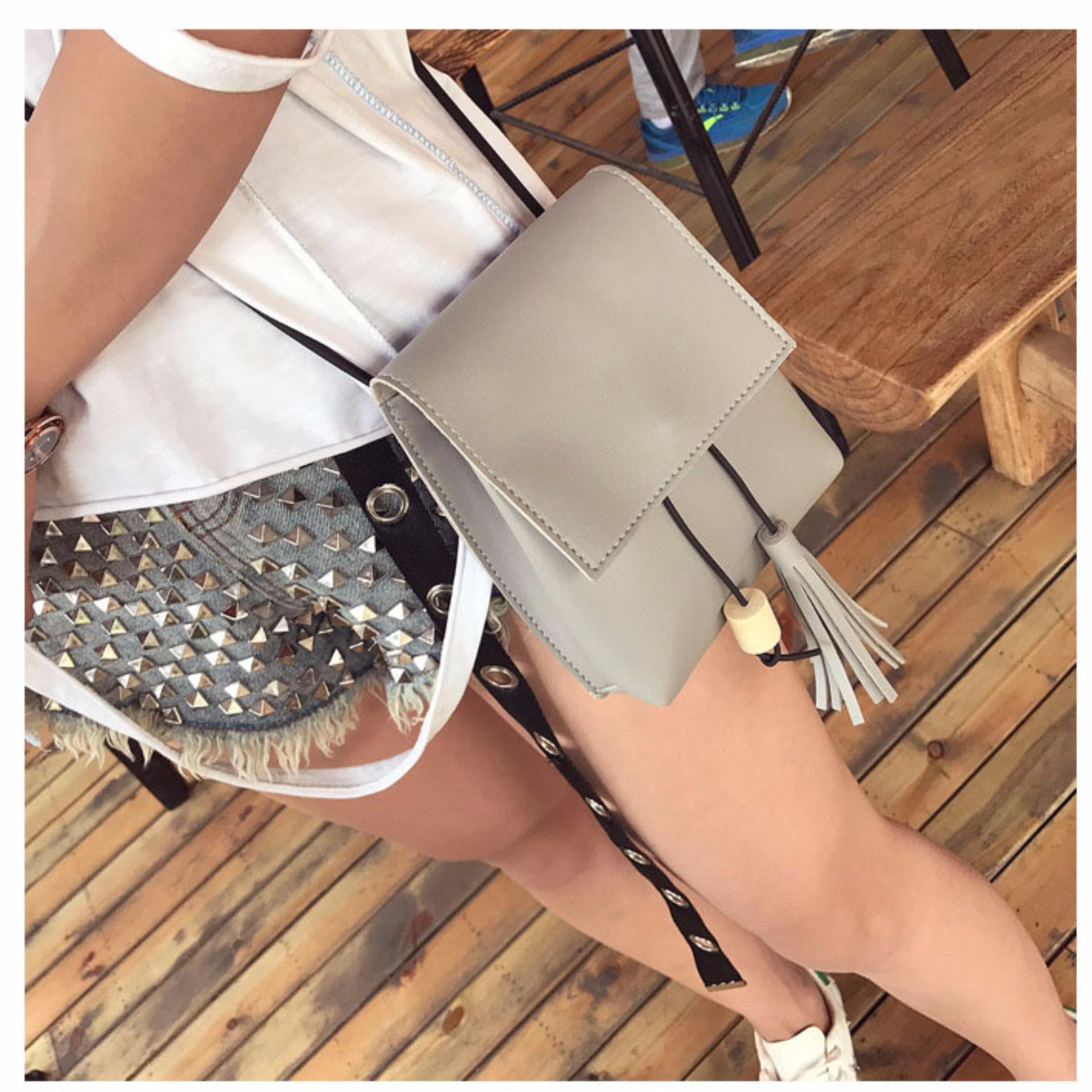 Harga Hangkingkong Tas Selempang Wanita Mini Sling Bag Korean Style Grey Abu Abu Satu Set