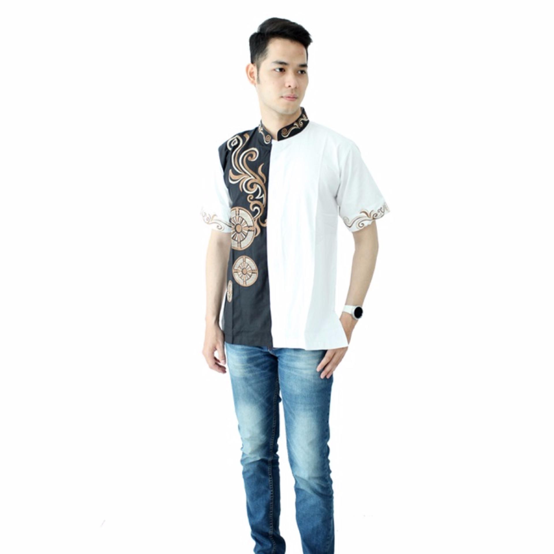 Spesifikasi Hansen Lisa Baju Koko Lengan Pendek Kombinasi Blackjack Putih Baru