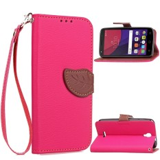 Happon Case for Alcatel OneTouch Pixi 4 5.0 OT5010D Leaf Design PU Leather Case with Hand Strap - intl
