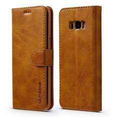 Happon Case untuk Samsung Galaksi S8 Plus Calf Biji-bijian PU Kulit Dompet Case dengan