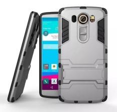 Hard Plastik + TPU Hibrida Armor Bracket Impact Holster Case untuk LG V10 F600 H968 G4 Pro (Grey) -Intl