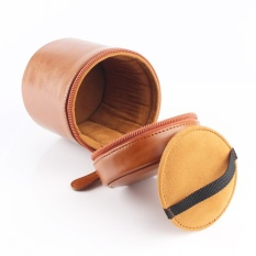 Keras PU Kulit Lensa Kamera Tas Dompet Case untuk Canon 17-55 14-2.818-135 17-40 28 -135 55-250 50-1.2 (Coklat) -Intl