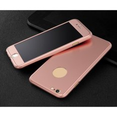 Hardcase 360 Casing Hp Full Body Free Tempered Glass For iPhone 5/5S/5SE (Rose Gold)