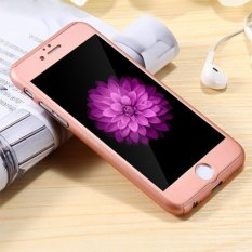 Hardcase 360 Casing Hp full Body Free Tempered Glass iPhone 6 Plus/ 6S Plus ( Rose Gold)
