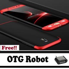 Hardcase GKK 360 For Samsung J7 Pro 2017Full Cover Shockproof Casing Handphone Polikarbonat - Merah Hitam - Free OTG