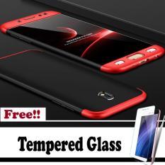 Hardcase GKK 360 For Samsung J7 Pro 2017Full Cover Shockproof Casing Handphone Polikarbonat - Merah Hitam - Free Tempered Glass