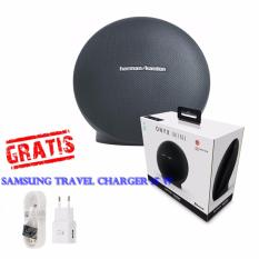 Harman Kardon Onyx Mini Bluetooth Speaker Wireless Portabel Legendary Sound  by Harman Kardon Original Gratis Samsung Travel Charger 15 W - Hitam