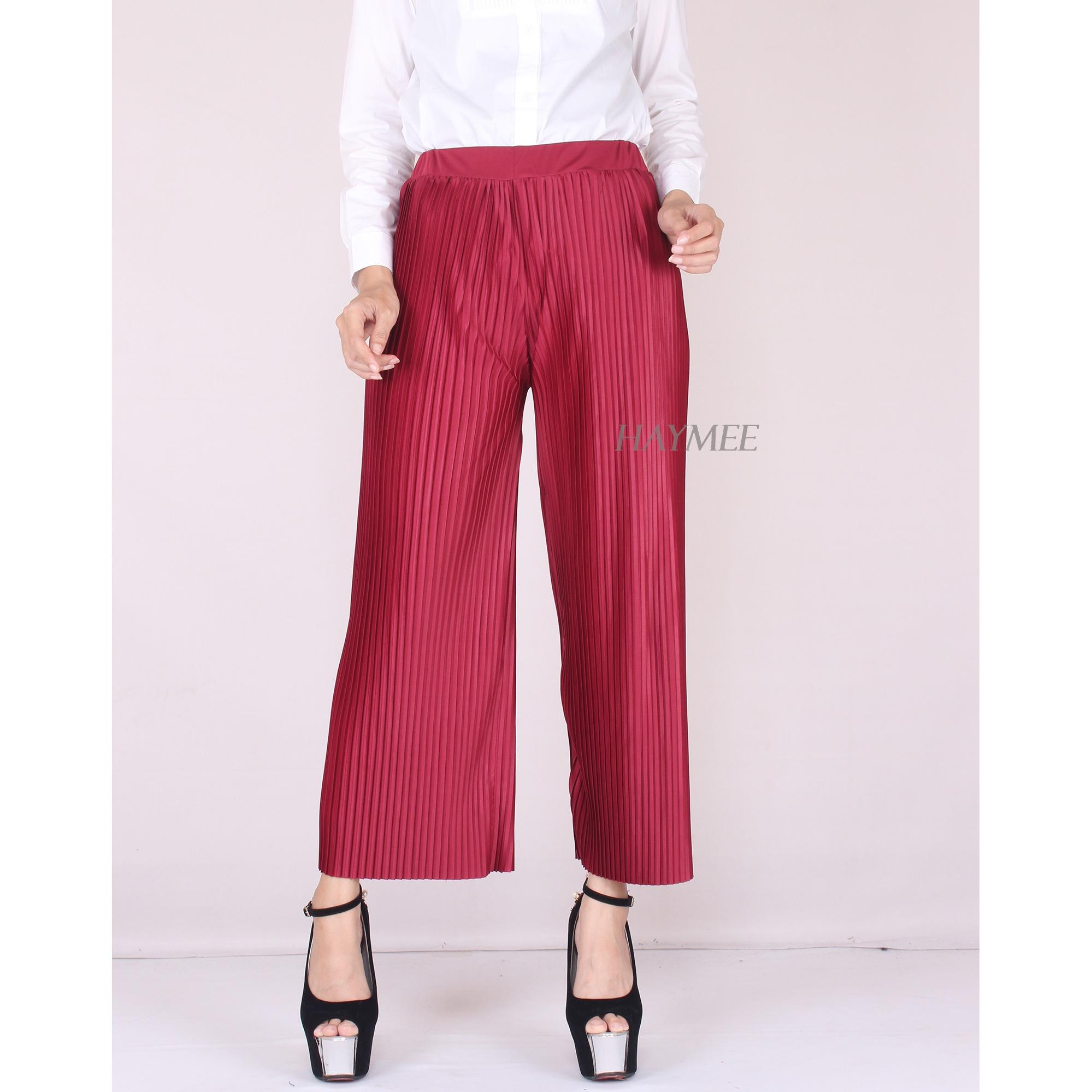 Promo Haymeestore Celana Plisket Kulot Wanita Celana Pleats Cullot Cewek Kantor Casual Fashion Celana Terbaru