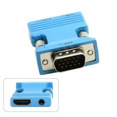 HDMI Wanita untuk VGA Pria & Keluaran Audio Adaptor untuk Laptop Buah Macbook Proyektor Tujuh DAYS10479-Internasional