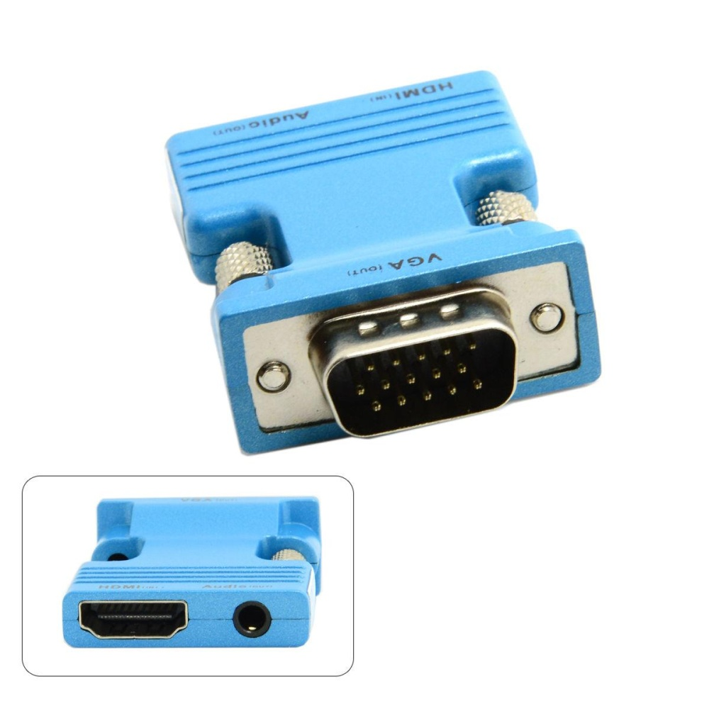 HDMI Male Female Ke VFA & Audio Output Adaptor untuk MacBook Proyektor Monitor-Intl