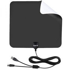 HDTV Antenna- VIEWTEK Amplified Digital Indoor TV Antennas 50 Mile Range with Amplifier, 13 Ft Copper Coaxial Cable and USB Power Supply(Black and white on both sides) - intl
