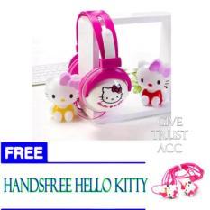 Headphone Stereo Karakter DORAEMON / HELLO KITTY - Bando + FREE Handsfree Karakter - UNIFORM  3r