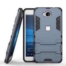 Tugas Berat Dual Layer DROP Protection Shockproof Armor Hybrid Steel Style Cover Pelindung Case dengan Self Stand untuk Microsoft Nokia Lumia 650-Intl