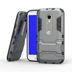 Tugas Berat Dual Layer DROP Protection Shockproof Armor Hybrid Steel Style Cover Pelindung Case dengan Self Stand untuk Motorola MOTO X Play/Droid Maxx 2-Intl
