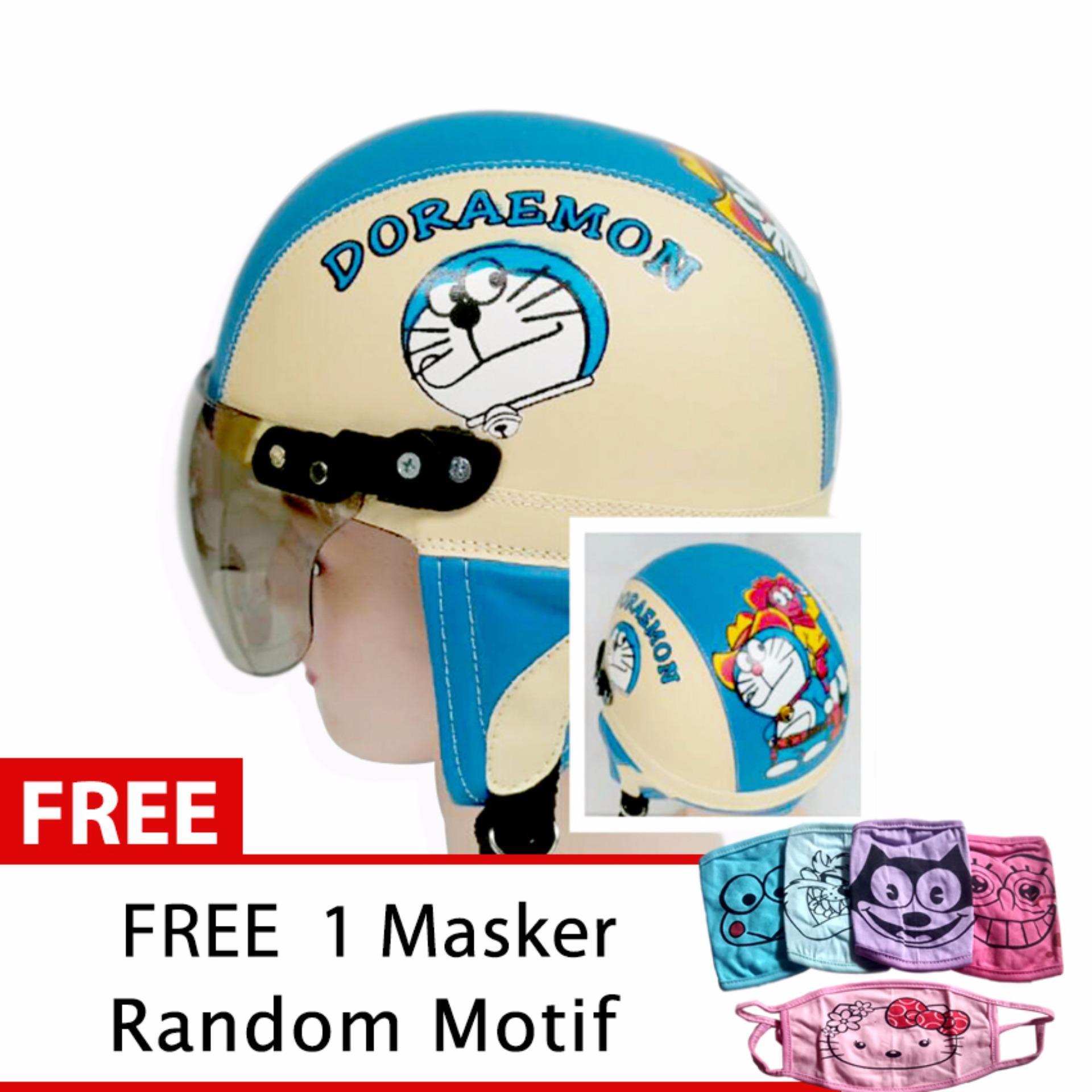 Harga Helm Anak Retro Usia 1 4 Tahun Motif Doraemon Cream Biru Free Masker Jbx Helmets Online