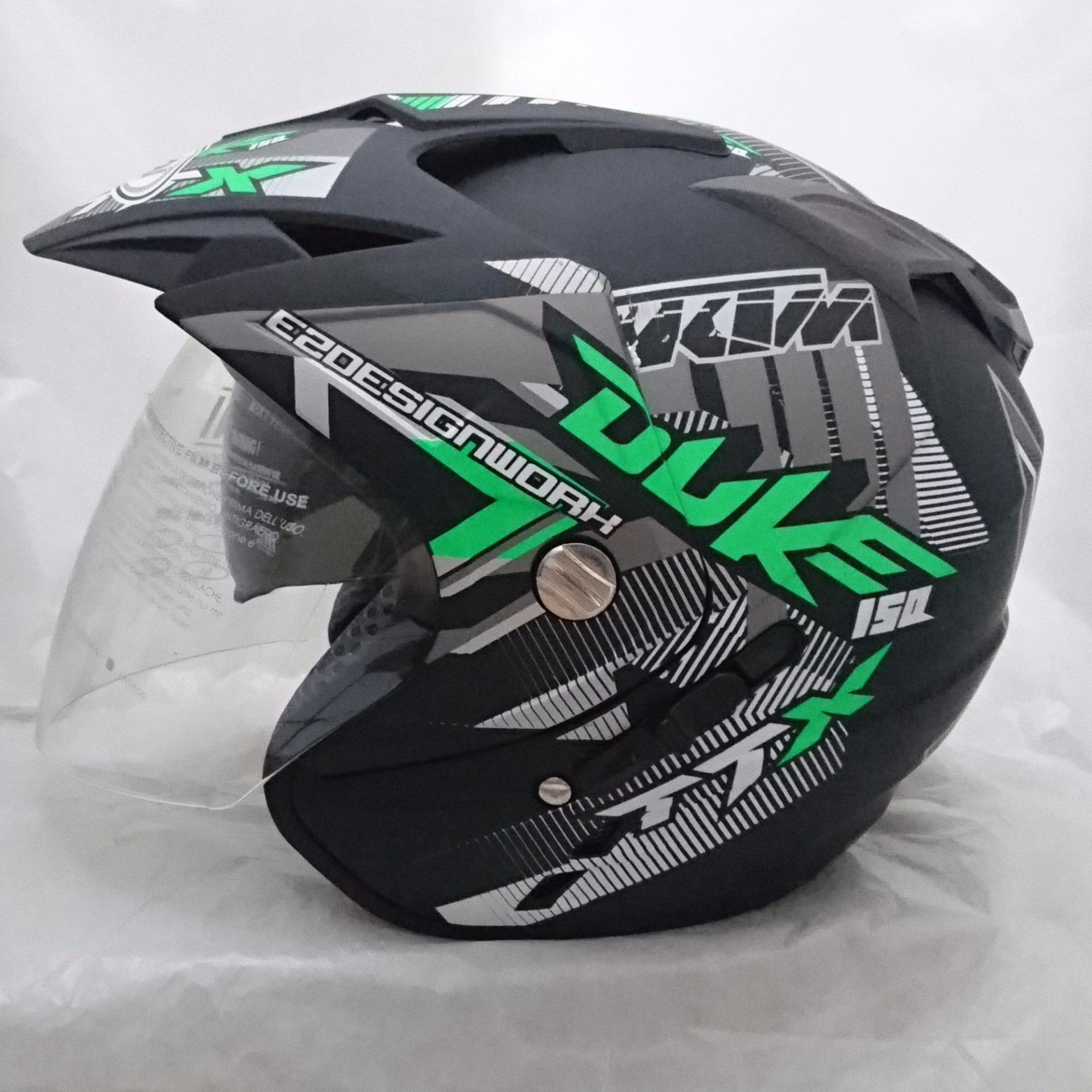 Jual Helm Dmn 2 Kaca Double Visor Duke Black Doff Green Cam Original