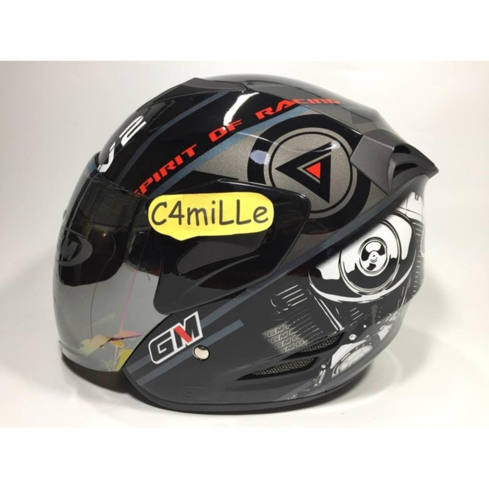 HELM GM FIGHTER SPORT V2 SR BLACK SILVER RED HALF FACE