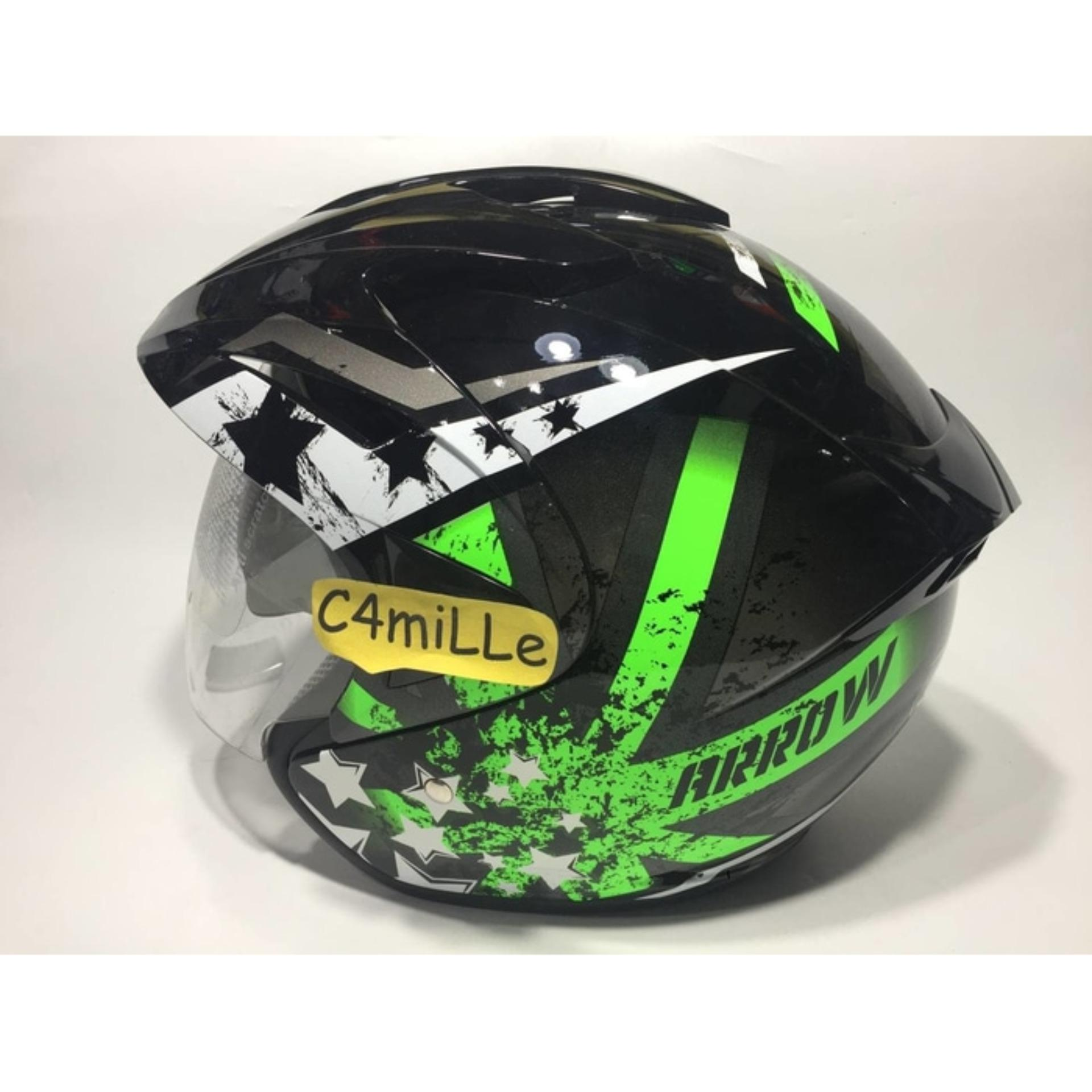 Harga Helm Hiu Arrow Black Green Fluo Double Visor Half Face Termahal