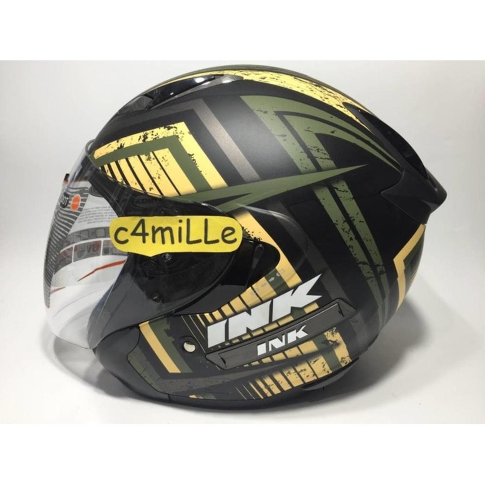Helm INK Metro 2 Black Matt Green Yellow Double Visor Half Face .