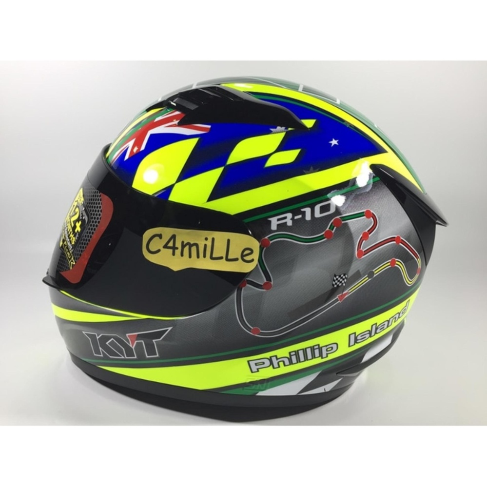 Promo Helm Kyt R10 Philip Island Gp Rc Circuit Yellow Fluo Green Blue Full Akhir Tahun