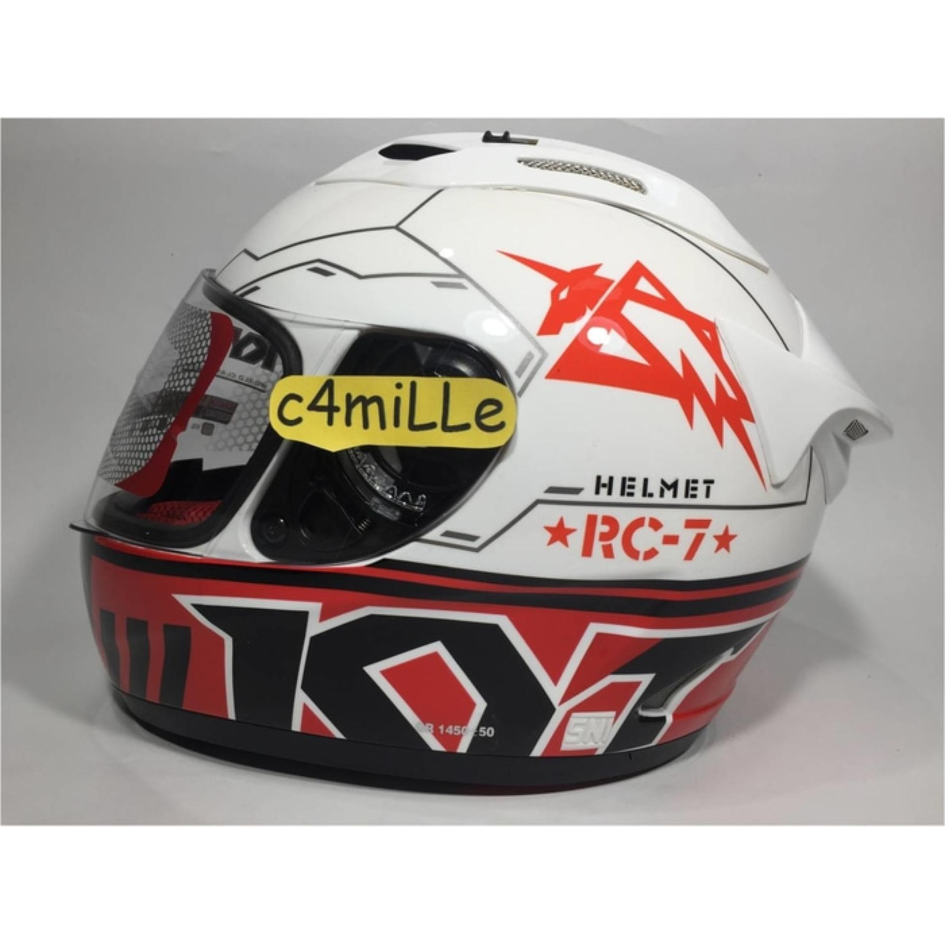 HELM KYT RC 7 RC7 MOTIF 11 WHITE BLACK RED FULL FACE