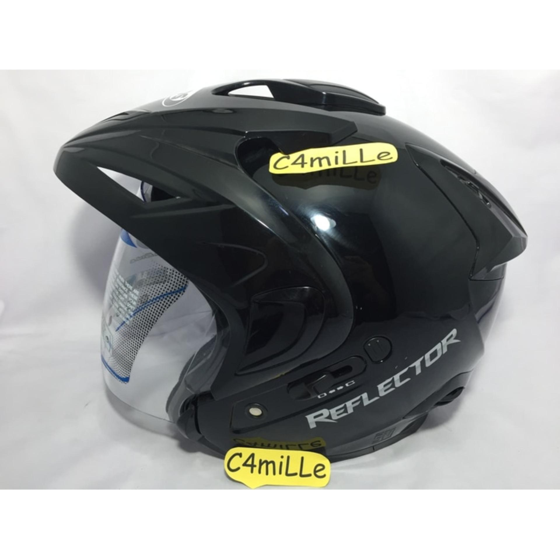 Helm MDS Reflector Double Visor Black Half Face .
